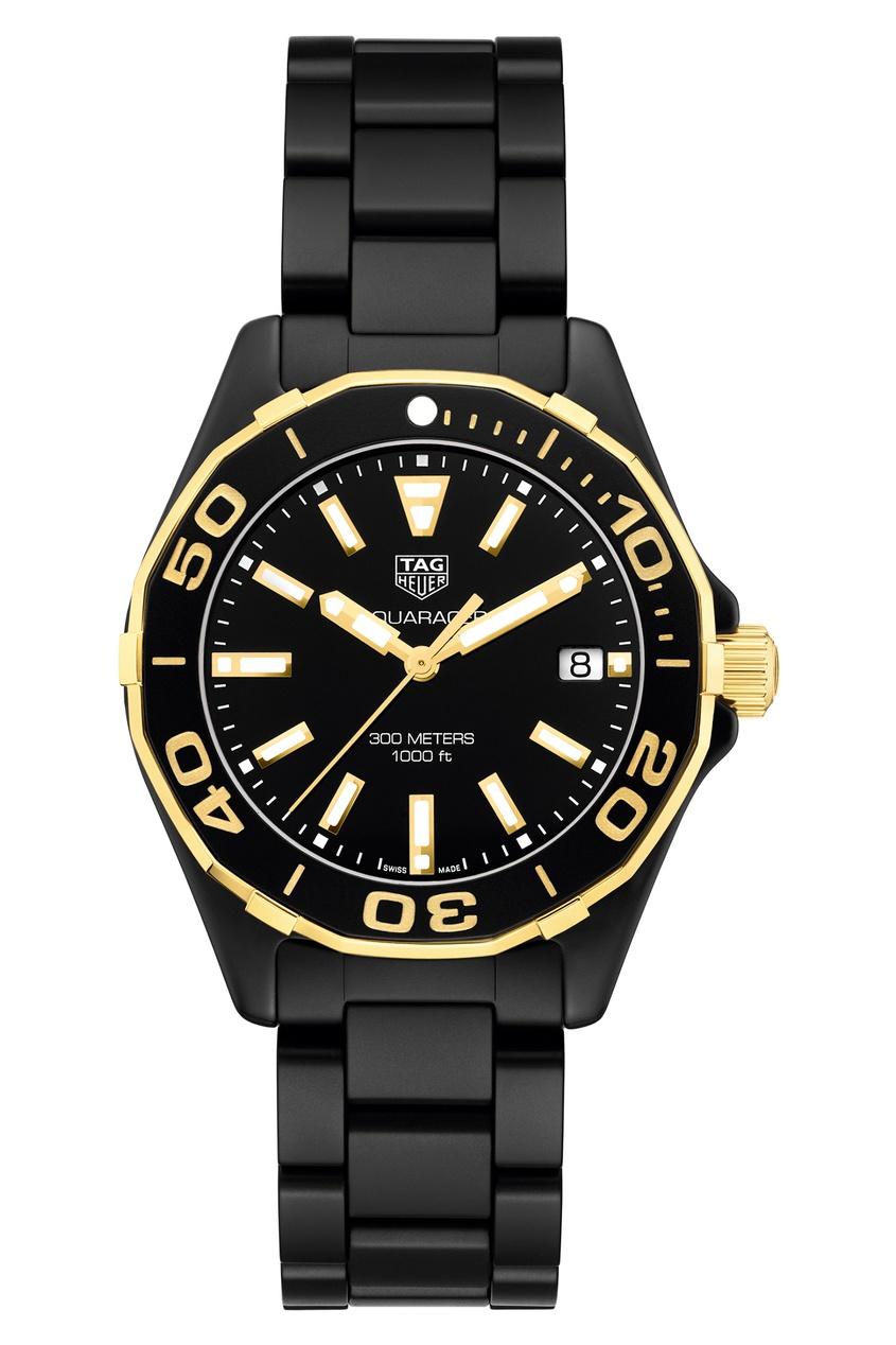 AQUARACER Кварцевые женские часы с золотисто-черным циферблатом