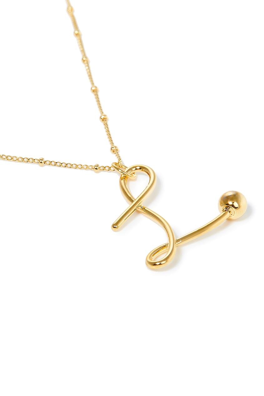 Фото 2 - Золотистое колье с буквой L от Lisa Smith золотого цвета