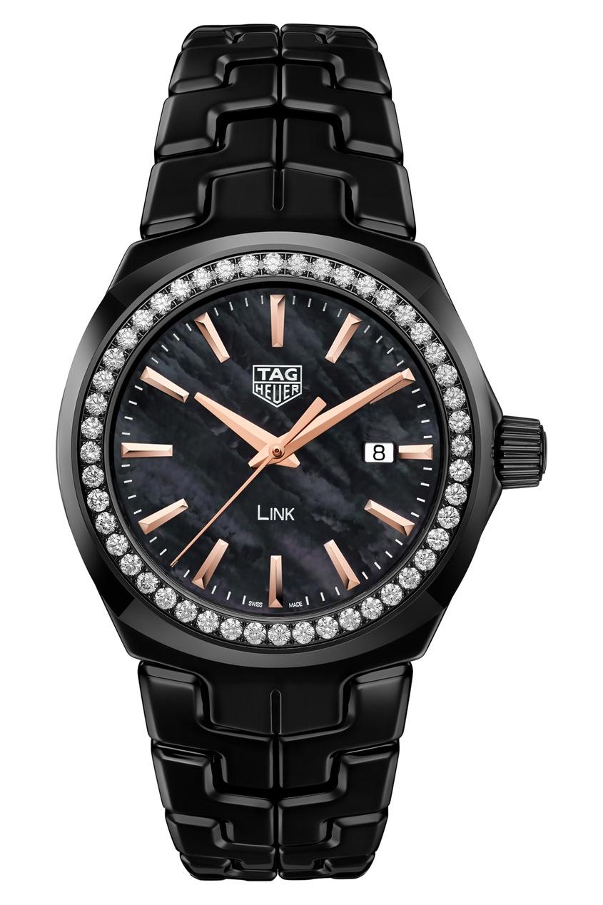 LINK Кварцевые женские часы с золотисто-черным циферблатом и бриллиантами