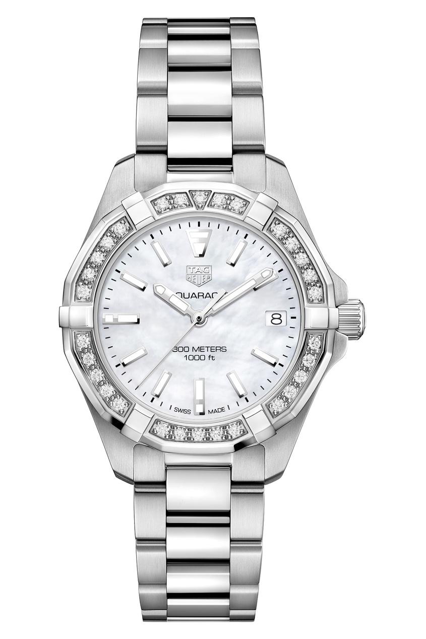 AQUARACER Кварцевые женские часы с белым перламутровым циферблатом