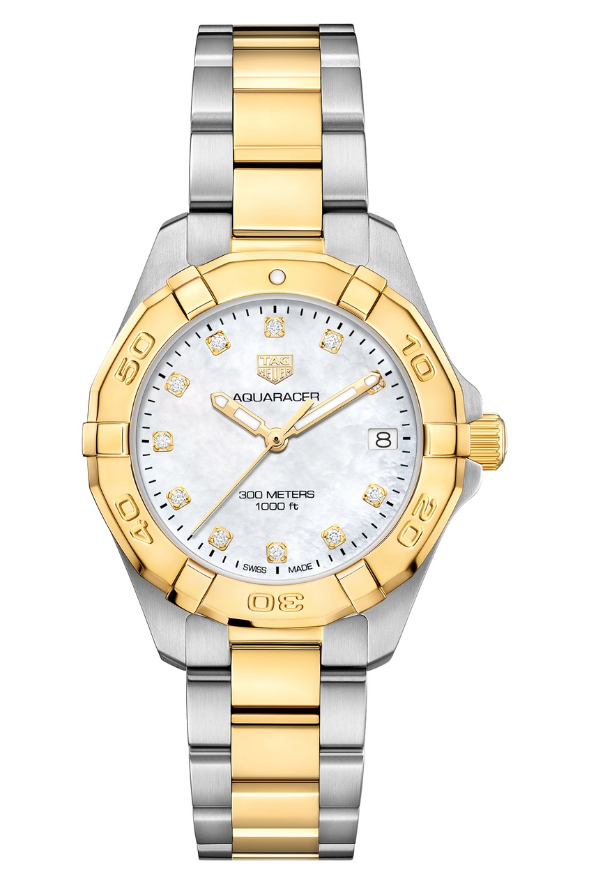 AQUARACER Кварцевые женские часы с белым циферблатом и желтым золотом.