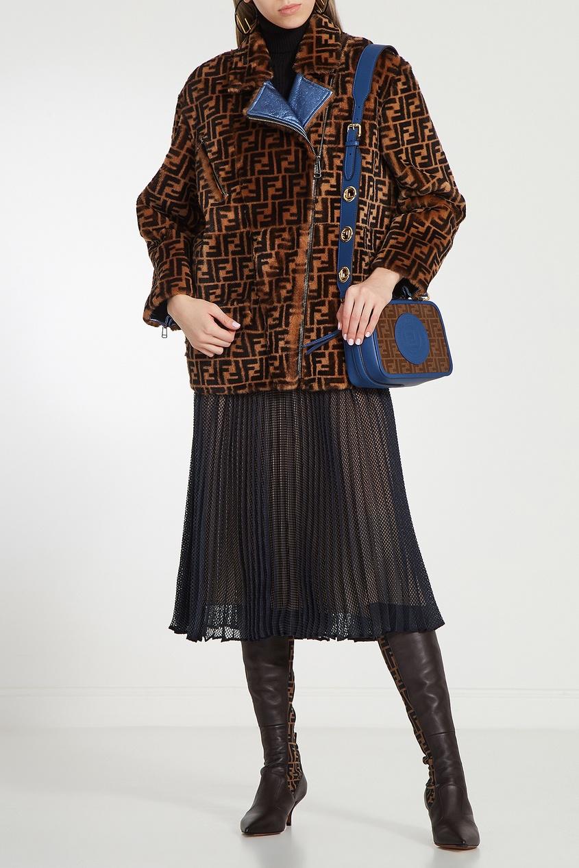 Фото 3 - Сине-коричневая сумка с монограммами FF от Fendi цвет multicolor