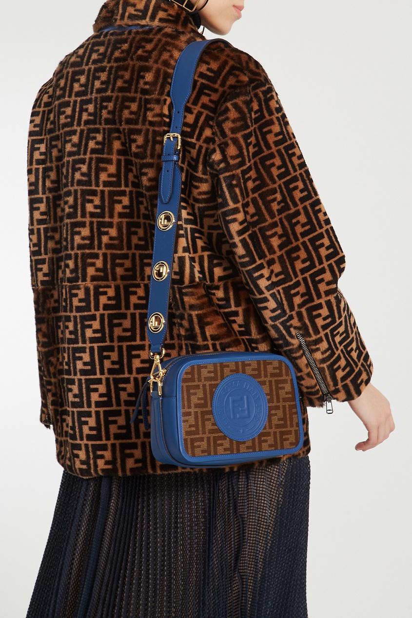 Фото 2 - Сине-коричневая сумка с монограммами FF от Fendi цвет multicolor