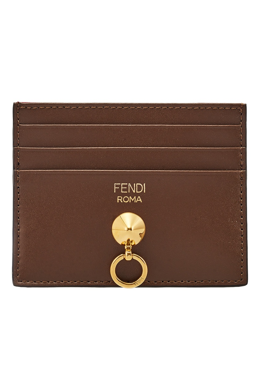 Фото - Коричневый футляр для карт от Fendi красного цвета