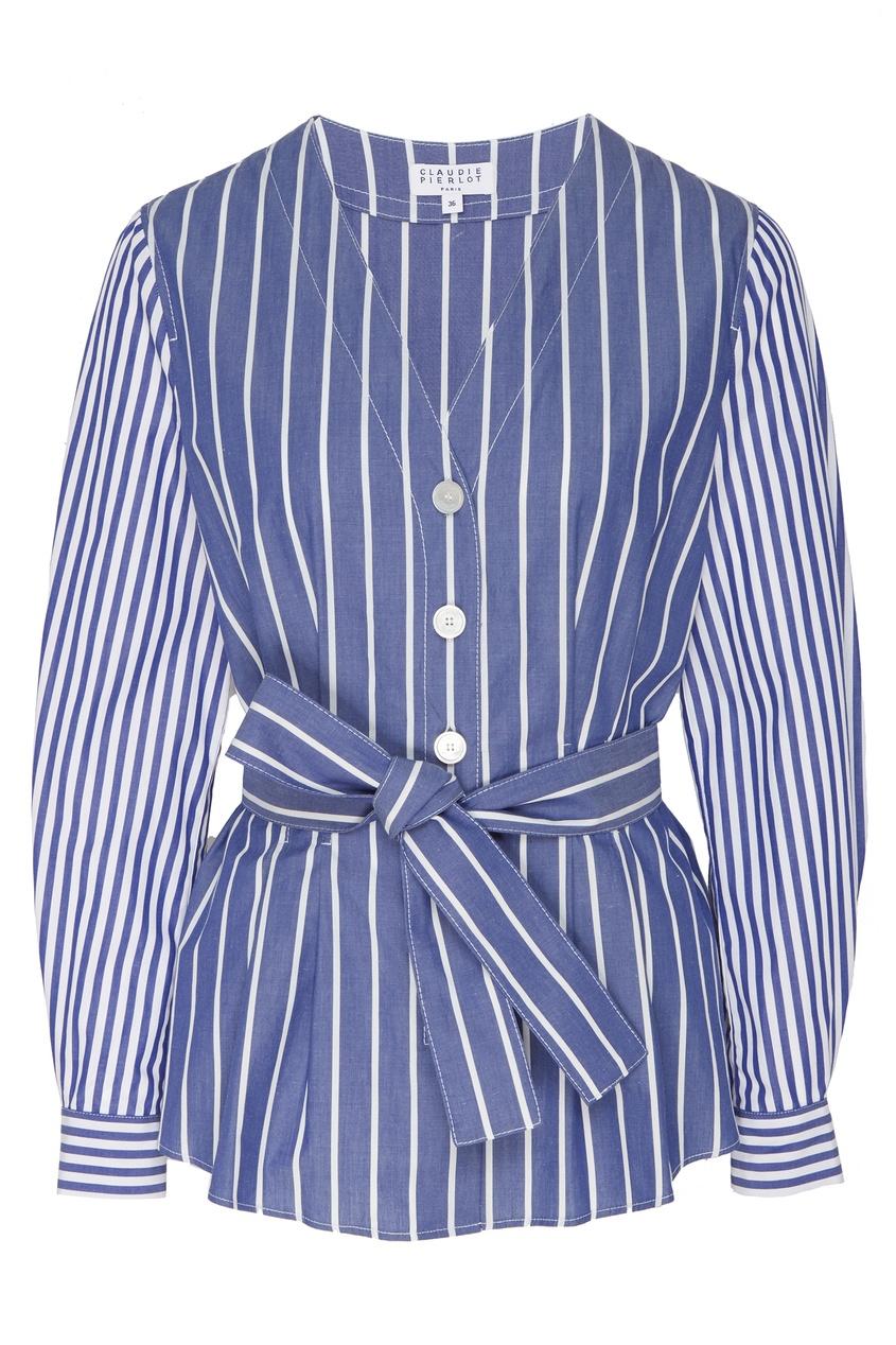 Фото - Полосатая блуза из сирсакера синего цвета