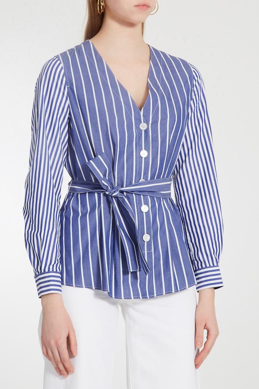 Фото 4 - Полосатая блуза из сирсакера синего цвета