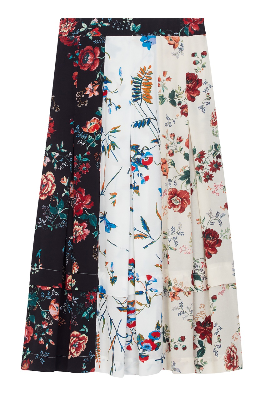 Юбка миди с комбинированным цветочным принтом Maje