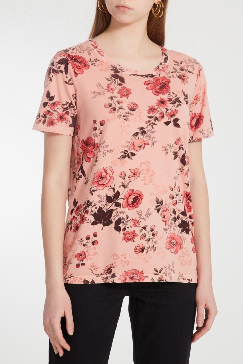Фото 3 - Розовая цветочная футболка от Maje цвет multicolor