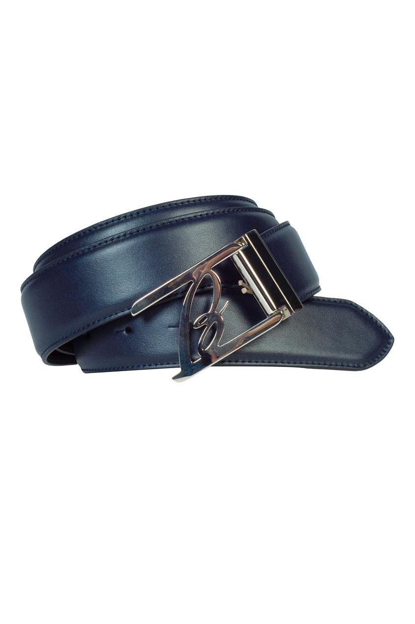 Синий кожаный ремень Brioni