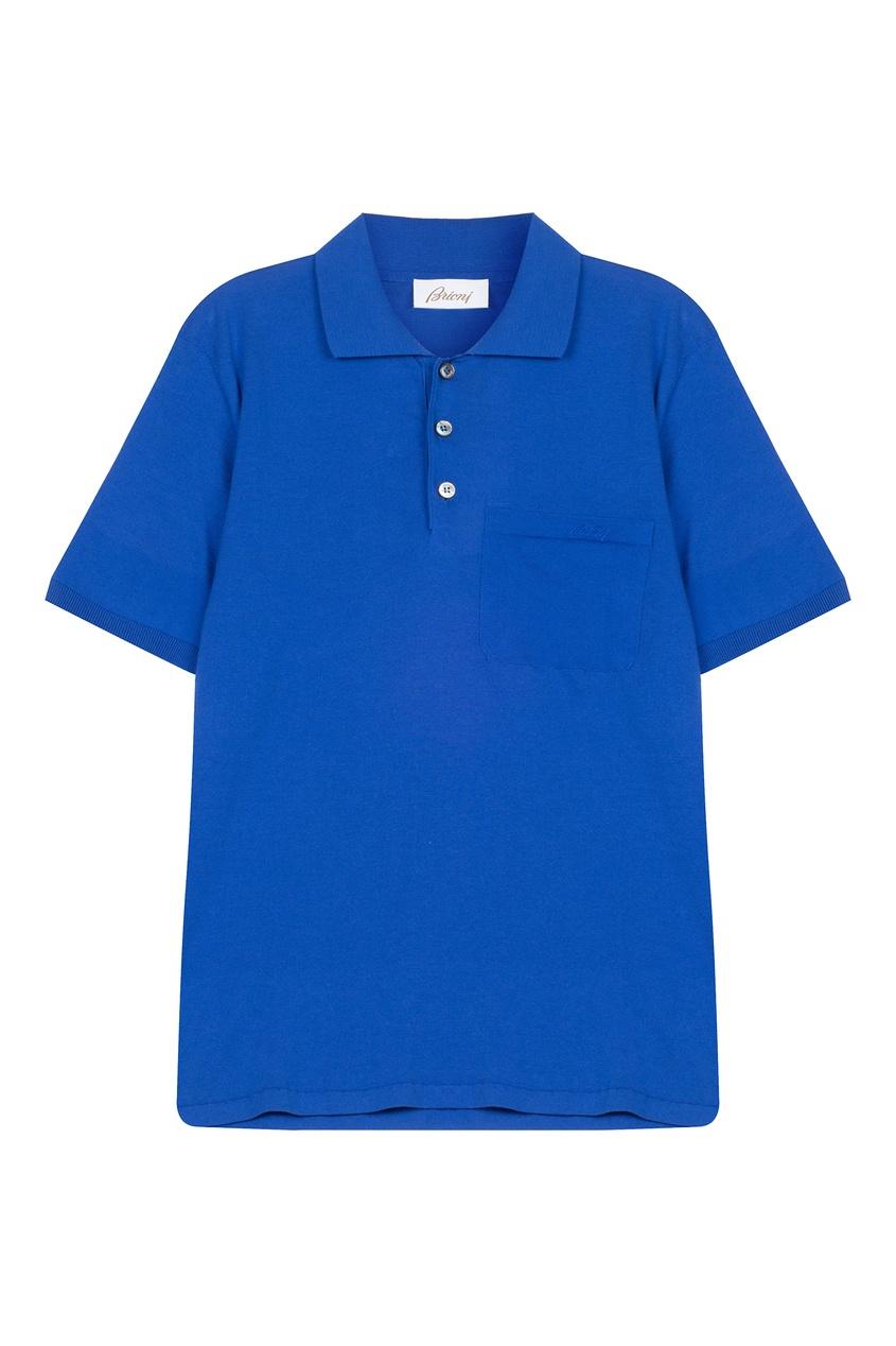 Купить Футболку-поло с карманом синего цвета