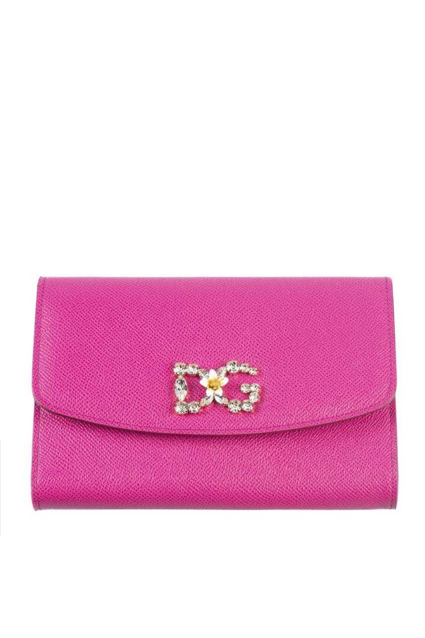 Розовый клатч на цепочке Dolce&Gabbana