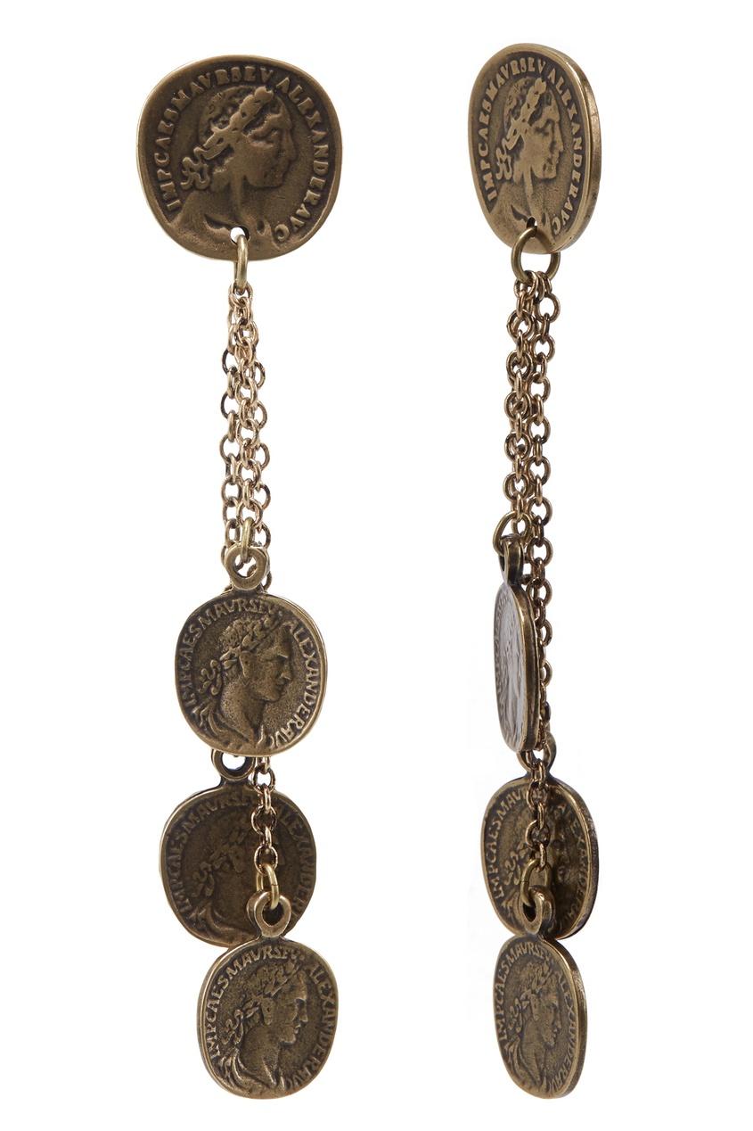 Фото 4 - Серьги с монетами золотого цвета