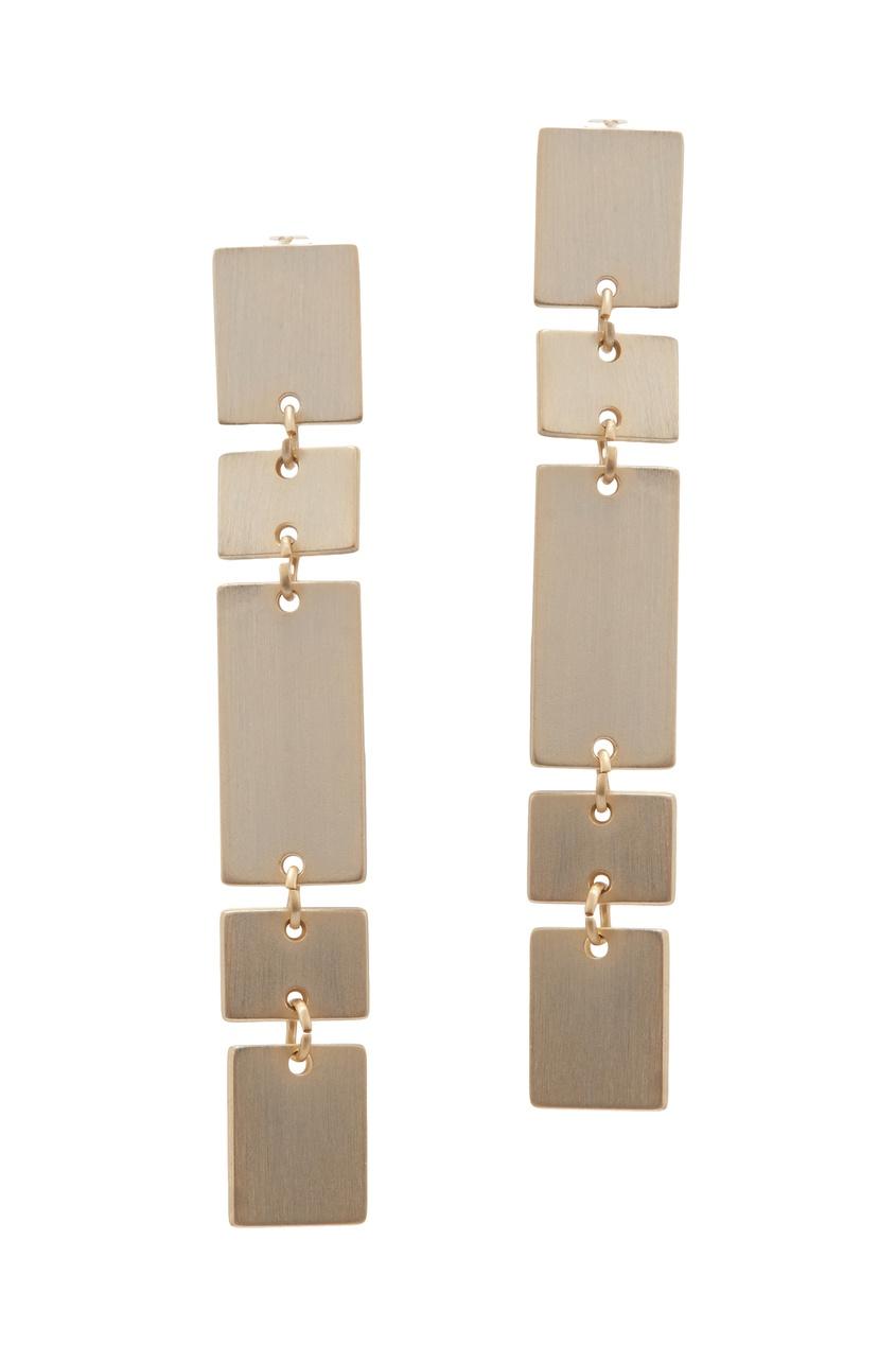 Фото - Золотистые серьги с геометрическим дизайном золотого цвета