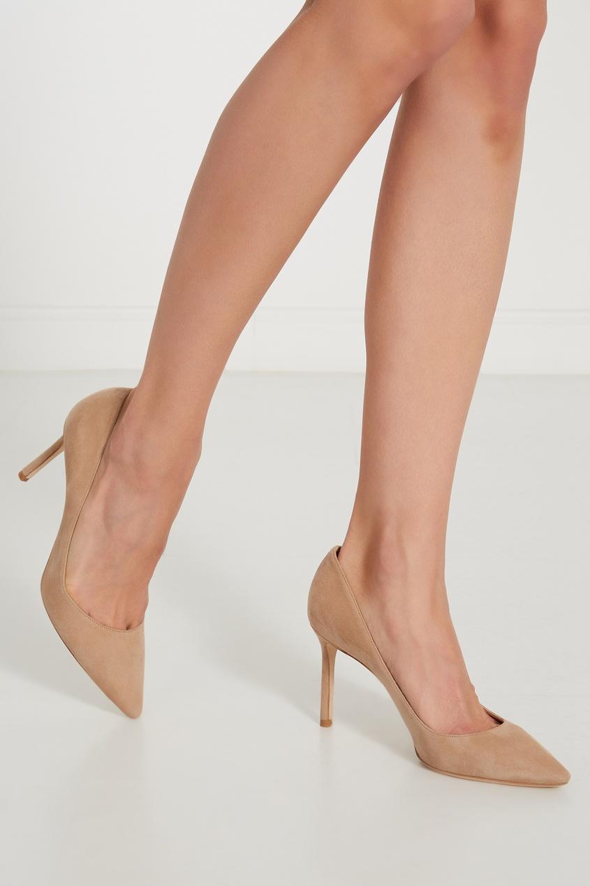Фото 2 - Бежевые туфли Romy 85 от Jimmy Choo бежевого цвета
