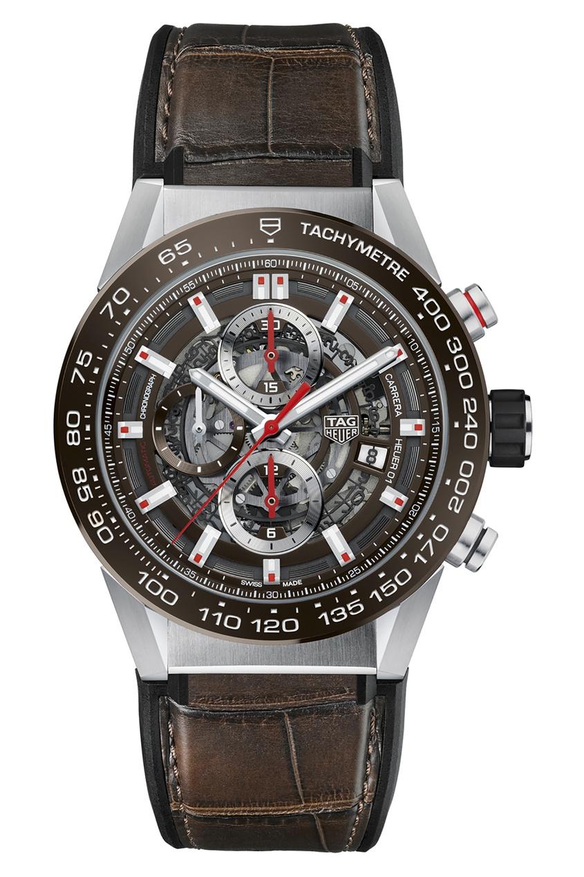 Фото - CARRERA Calibre Heuer 01 Автоматические мужские часы с коричневым циферблатом цвет без цвета
