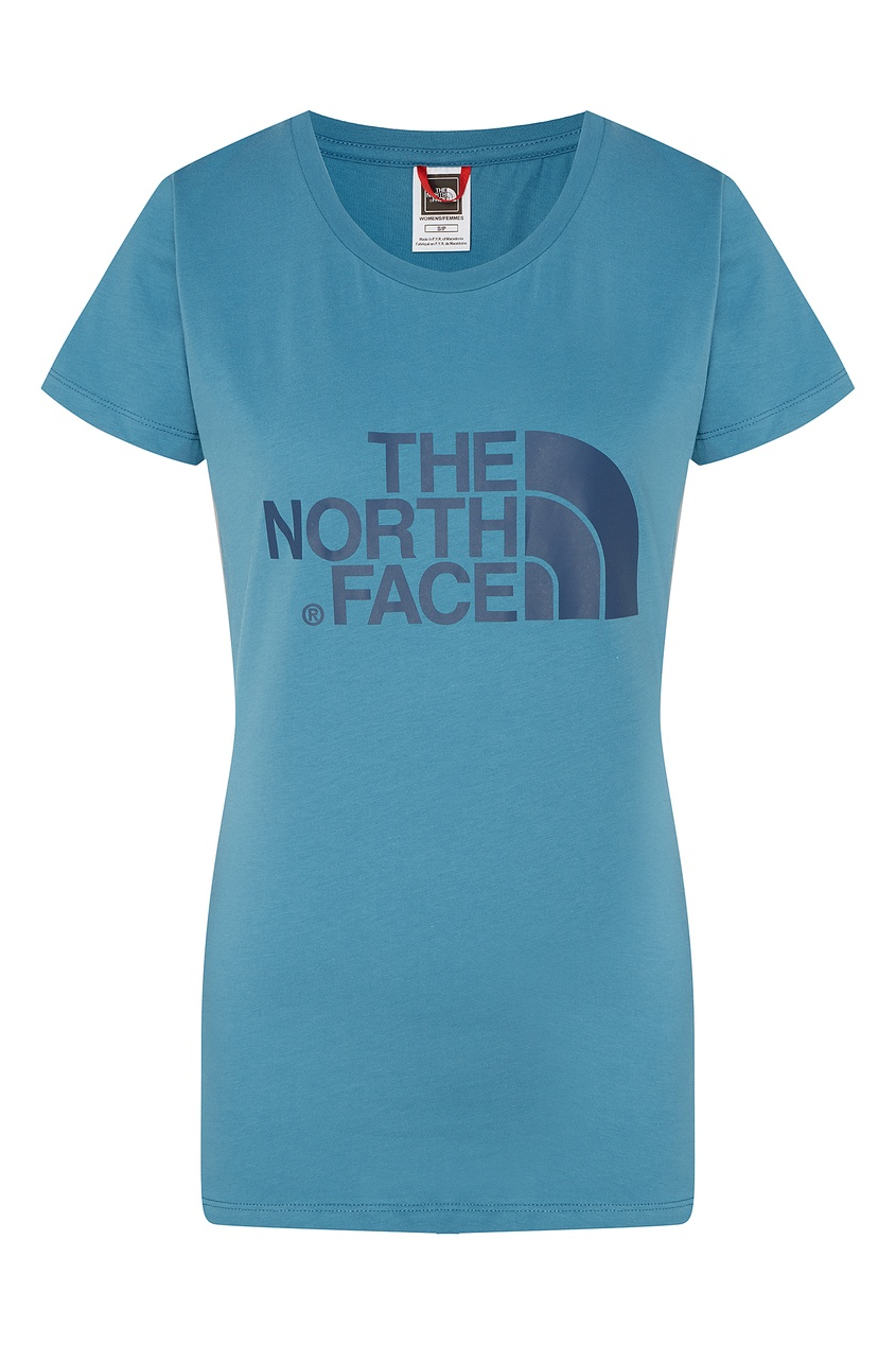 Фото - Удлиненная синяя футболка с логотипом синего цвета