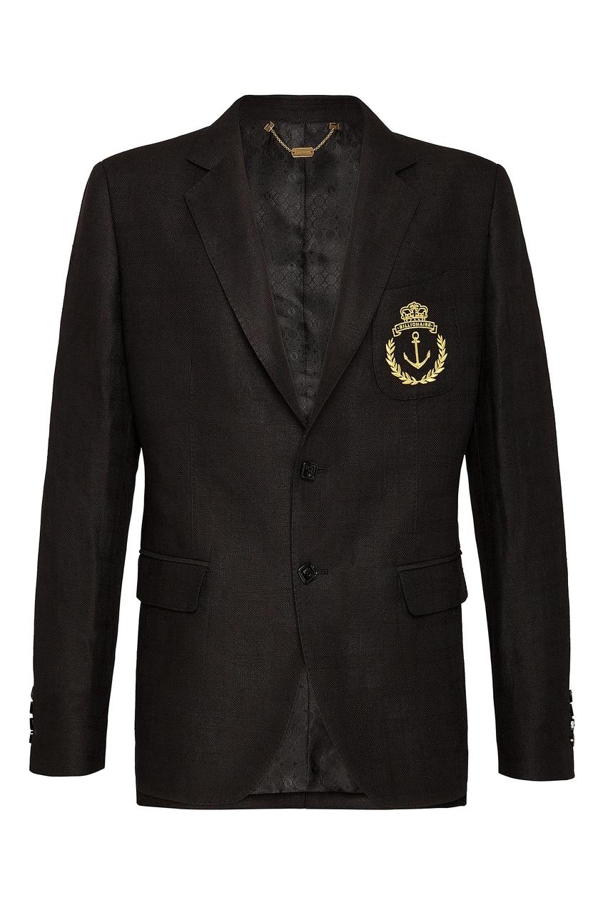 Черный блейзер с гербом Billionaire