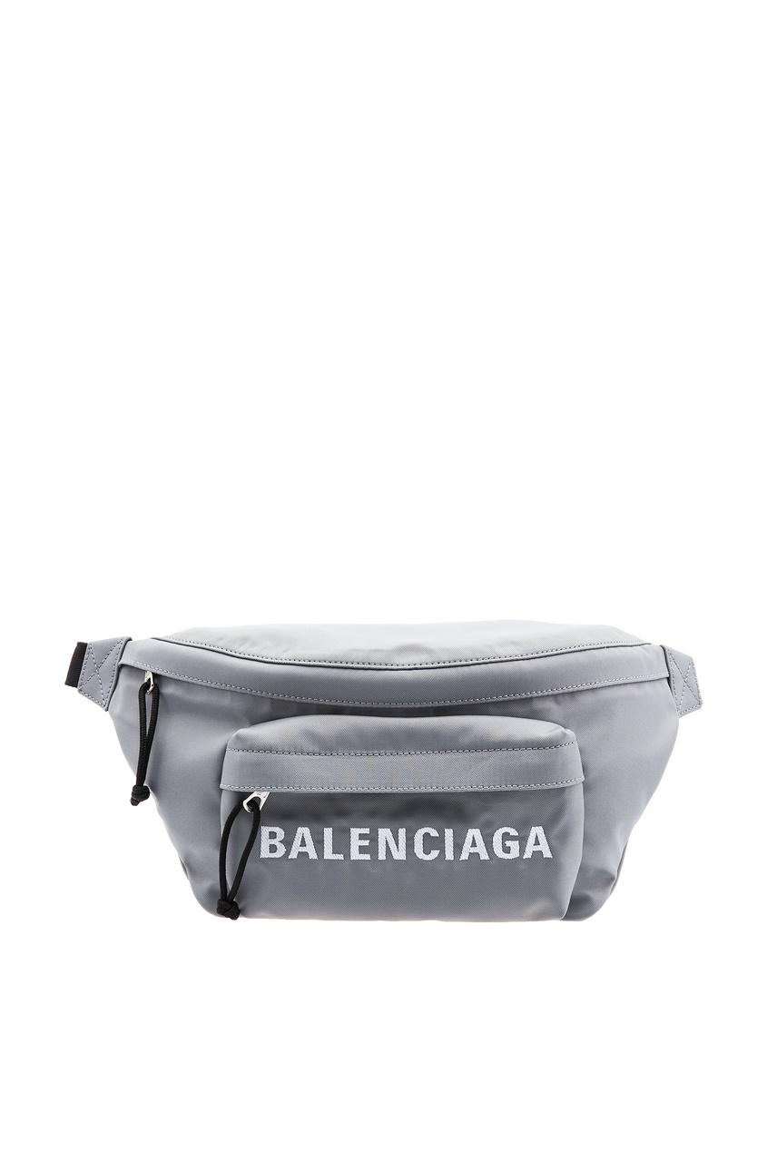 мужская поясные сумка balenciaga man, серая