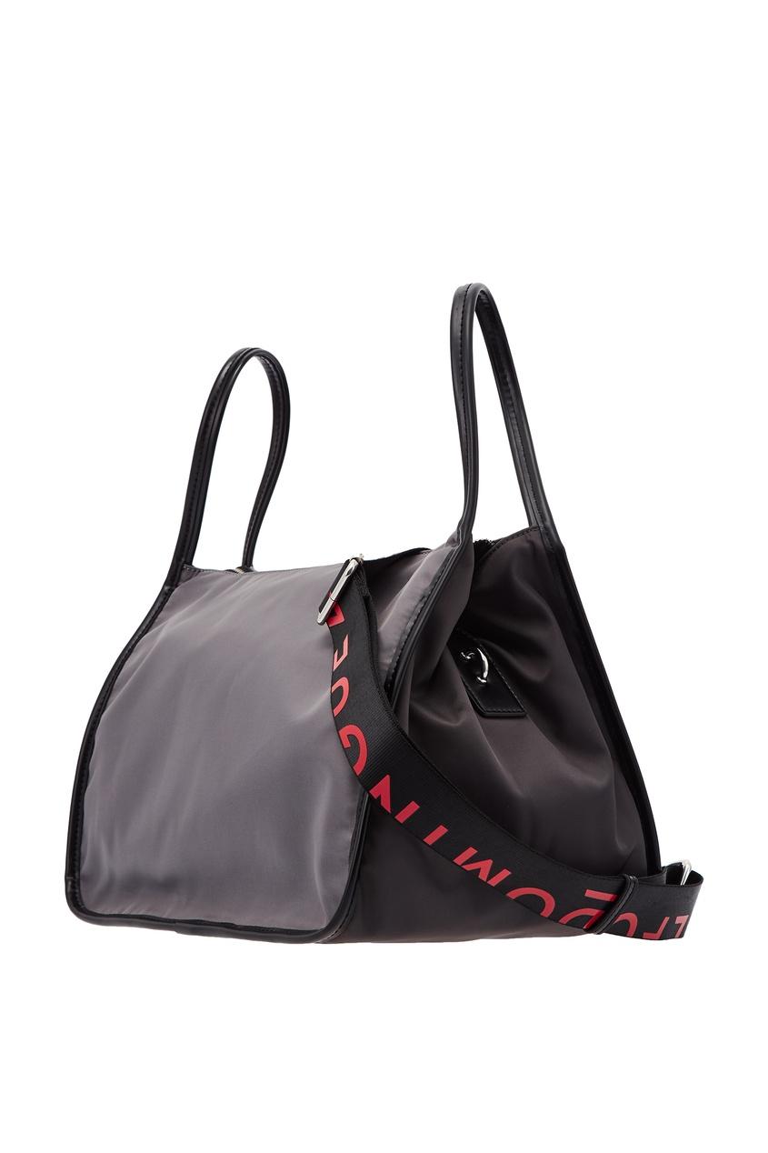 Фото 4 - Серая текстильная сумка серого цвета