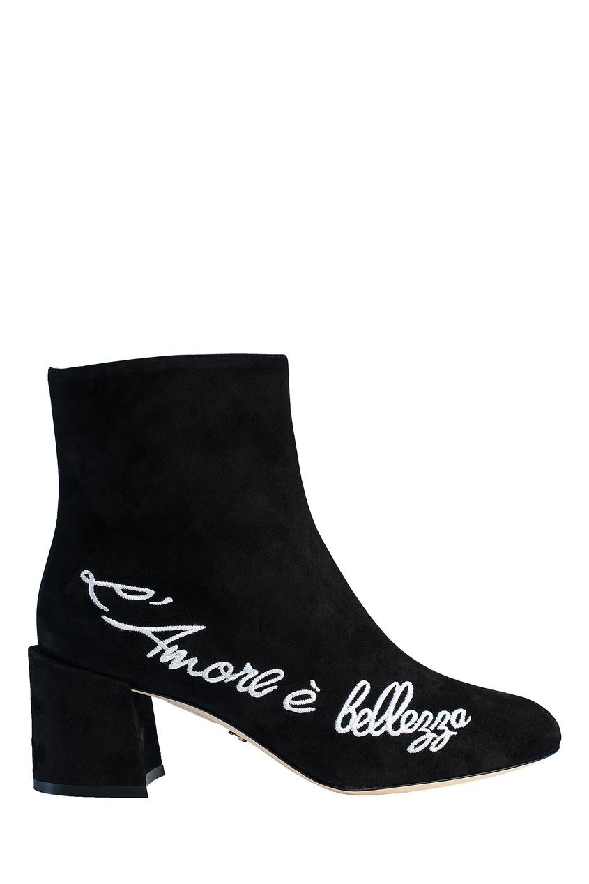 Черные ботильоны с белой вышитой надписью Dolce&Gabbana