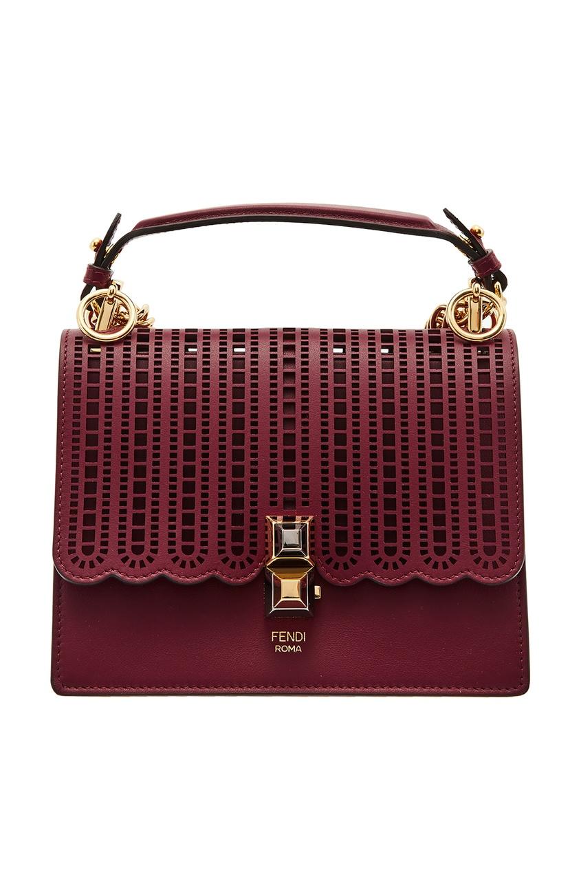 Фото - Бордовая мини-сумка Kan I Small от Fendi красного цвета