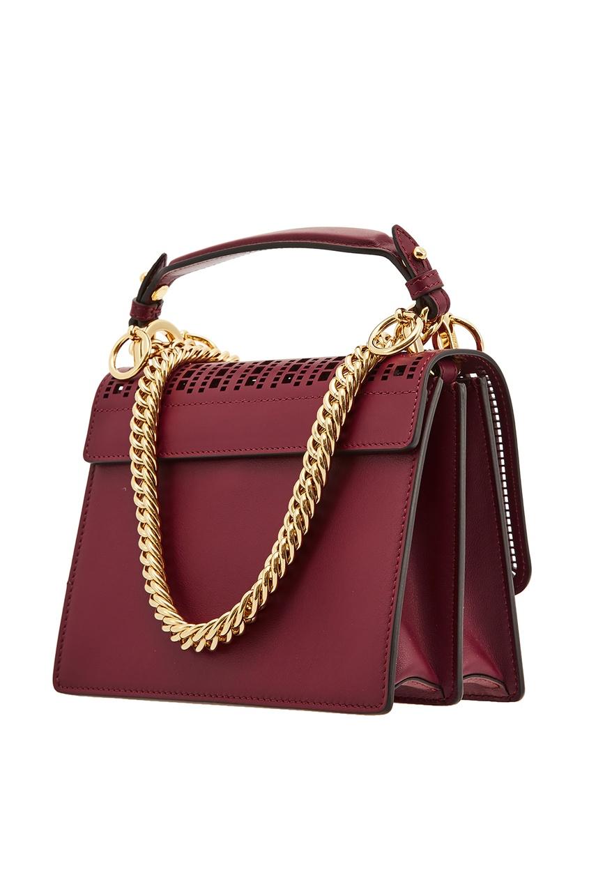 Фото 3 - Бордовая мини-сумка Kan I Small от Fendi красного цвета