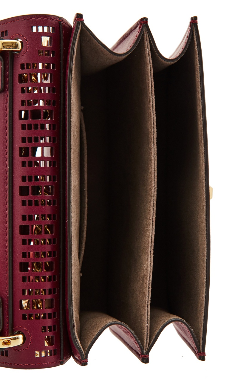Фото 6 - Бордовая мини-сумка Kan I Small от Fendi красного цвета
