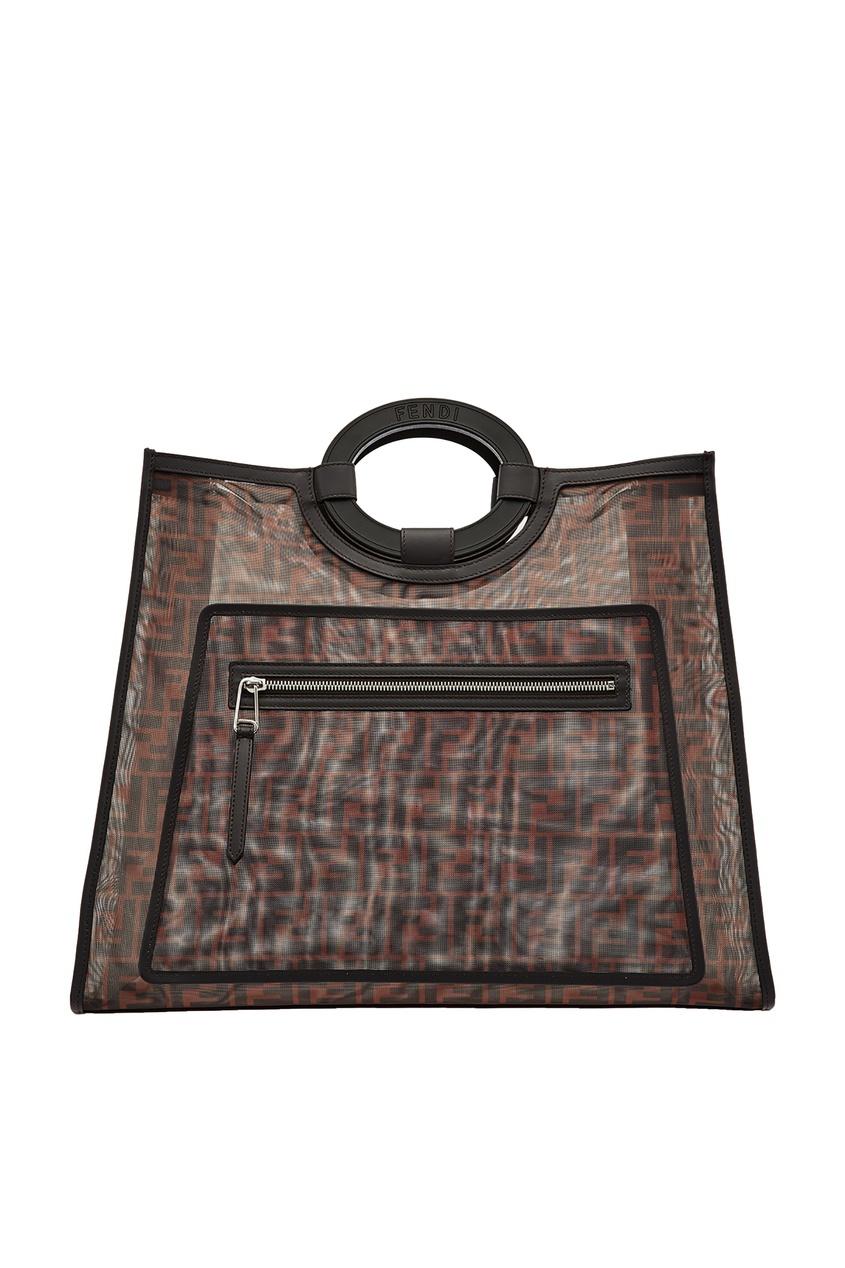 Фото - Сумку-шопер из разноцветной сетчатой ткани от Fendi коричневого цвета