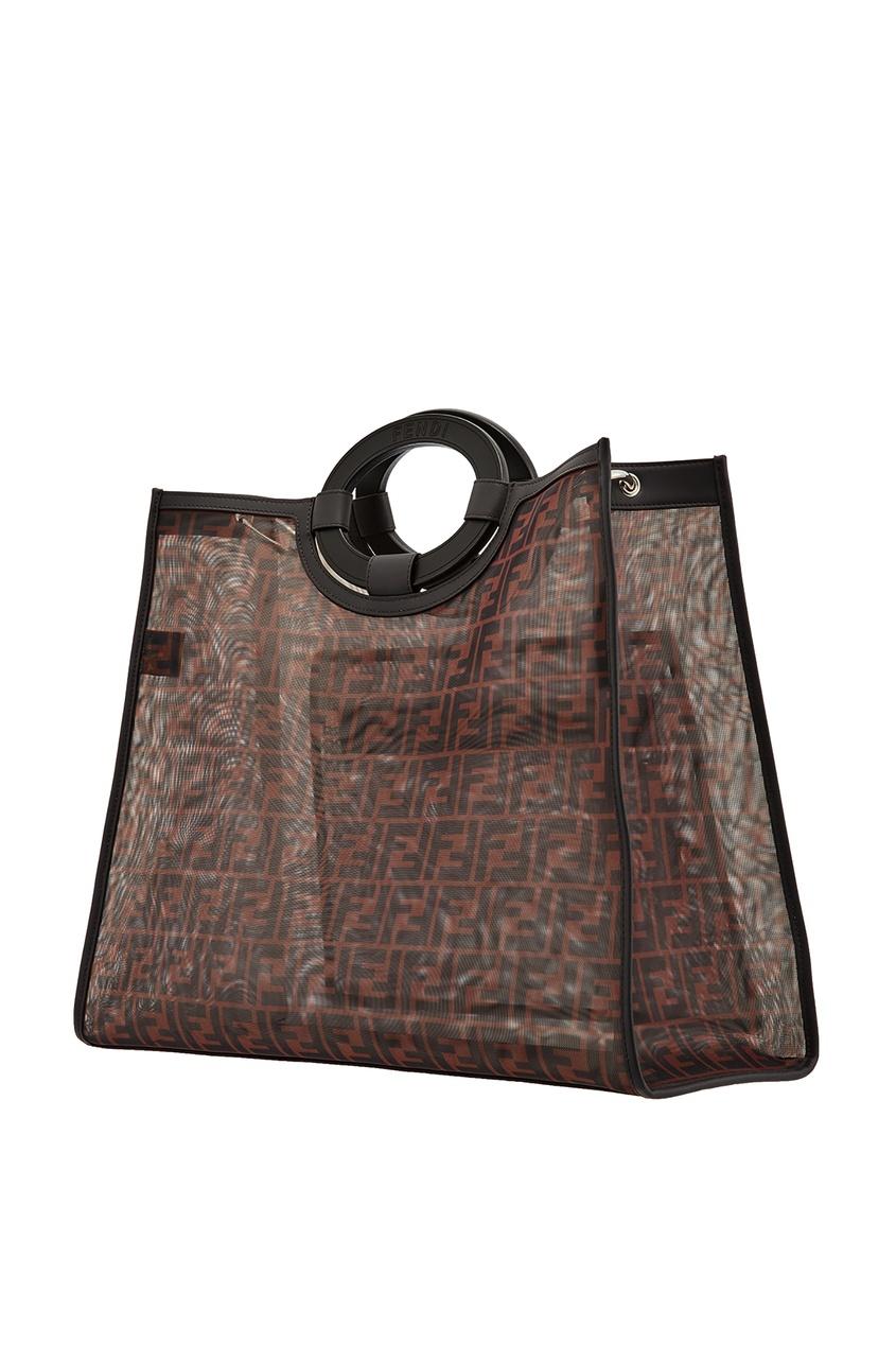 Фото 4 - Сумку-шопер из разноцветной сетчатой ткани от Fendi коричневого цвета
