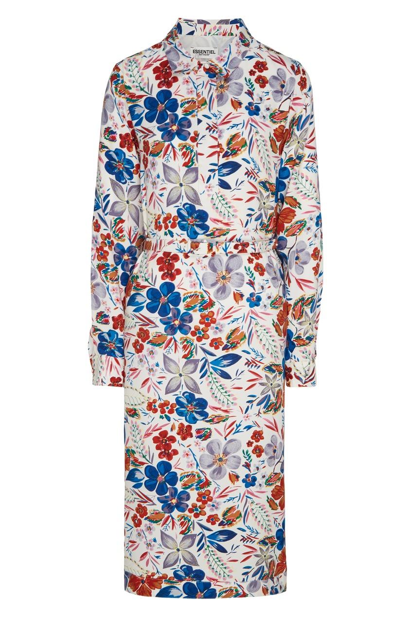 Купить Платье-рубашка с цветочным принтом белого цвета