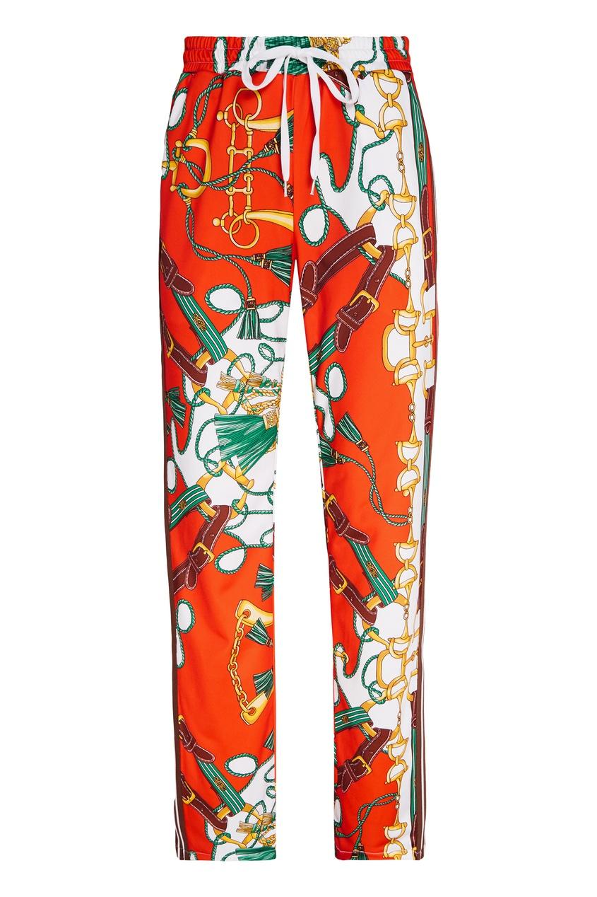 Купить Брюки с принтом и лампасами от P.A.R.O.S.H. оранжевого цвета