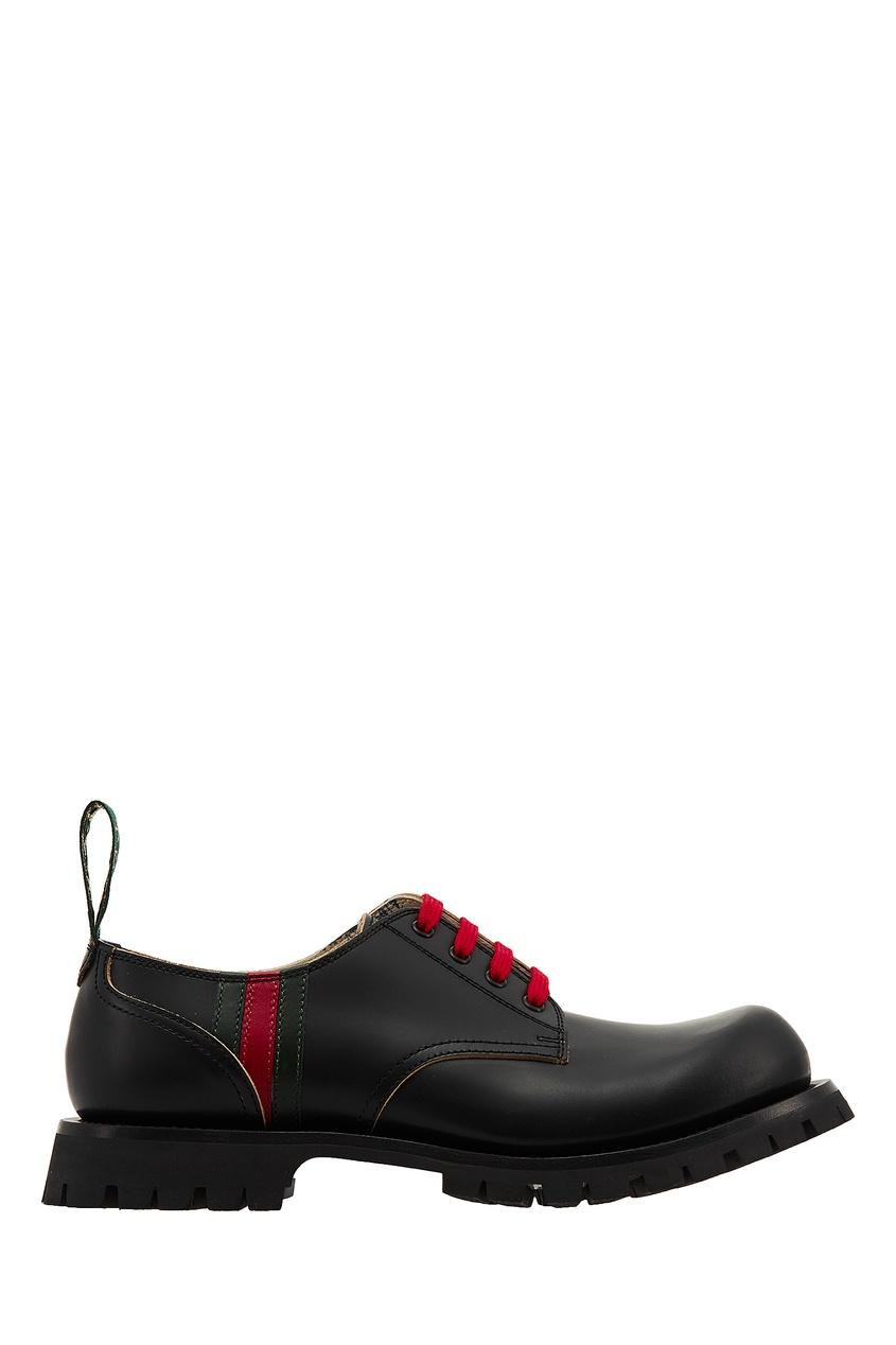 Полуботинки с контрастной шнуровкой и полосами Web от Gucci