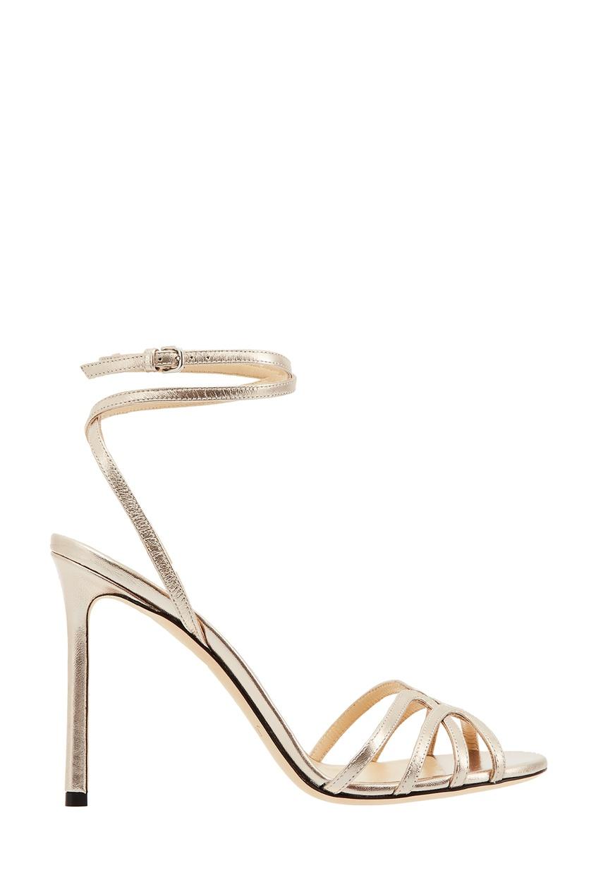 Золотистые кожаные босоножки Mimi 100 от Jimmy Choo