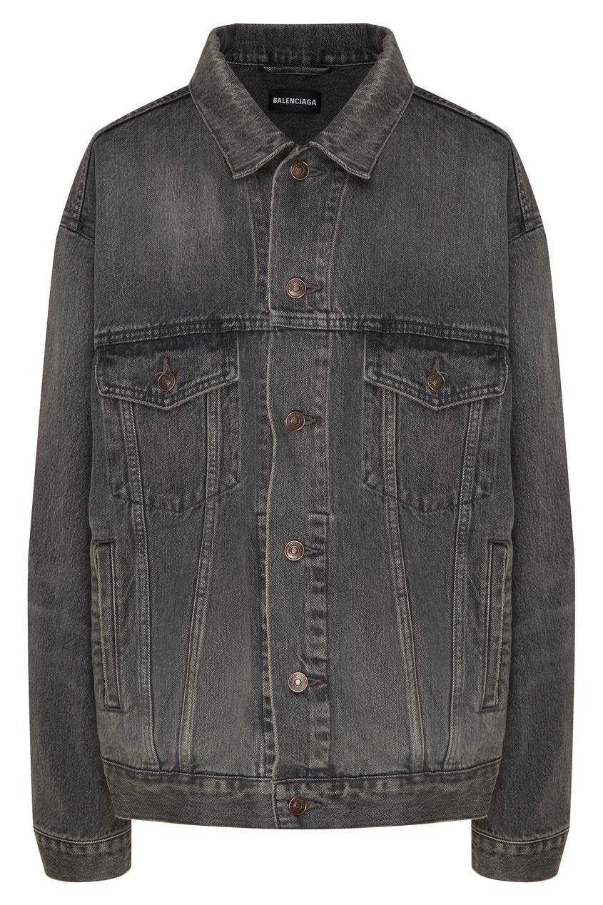 Фото - Серая джинсовая куртка Logo от Balenciaga серого цвета