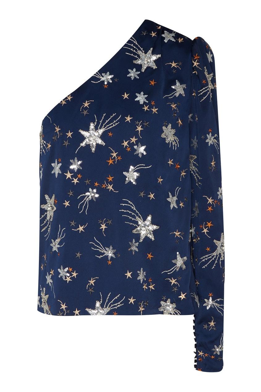 Купить Асимметричная блузка со звездами от Self-Portrait синего цвета