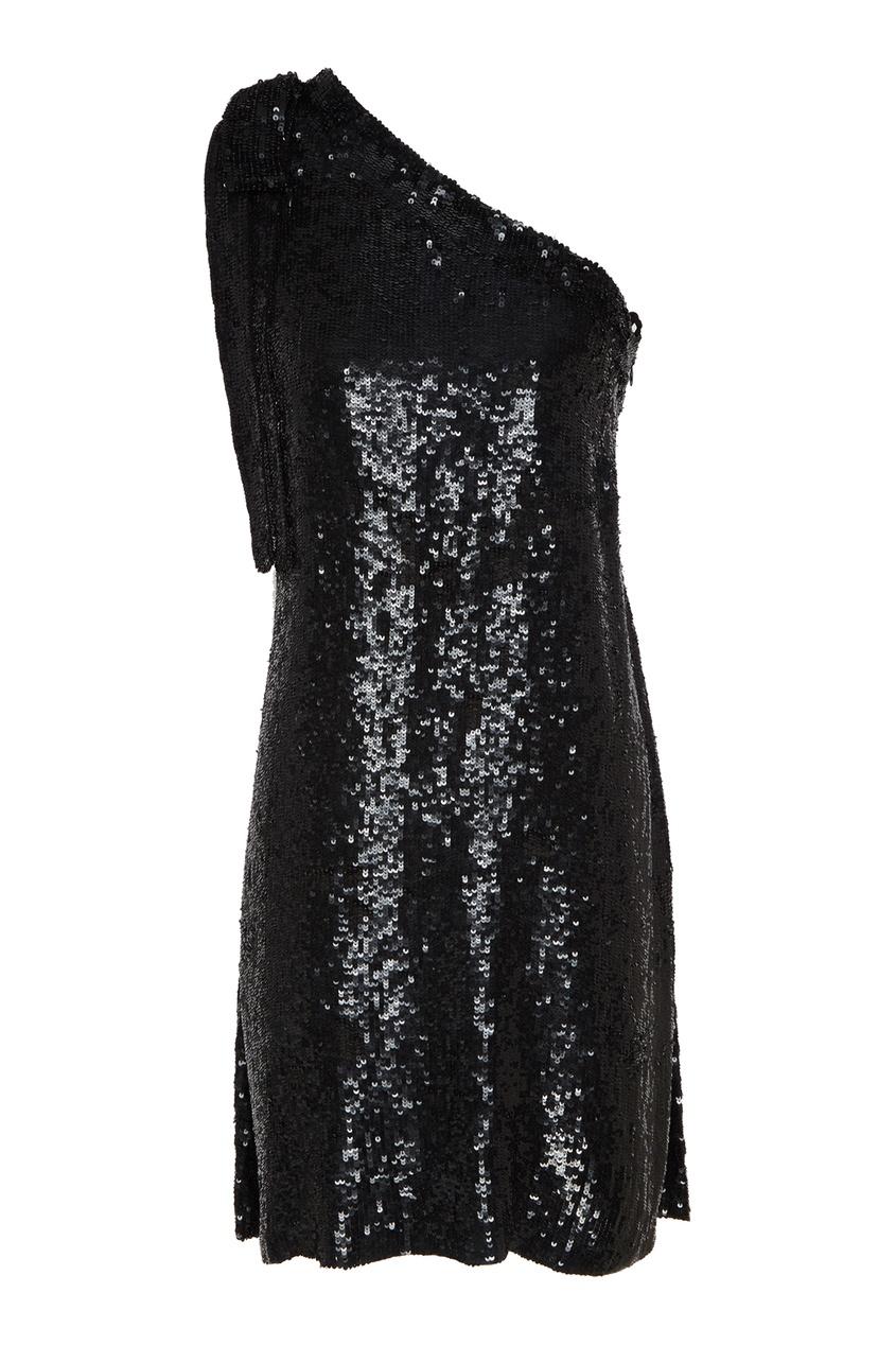 Черное асимметричное платье с пайетками P.A.R.O.S.H.