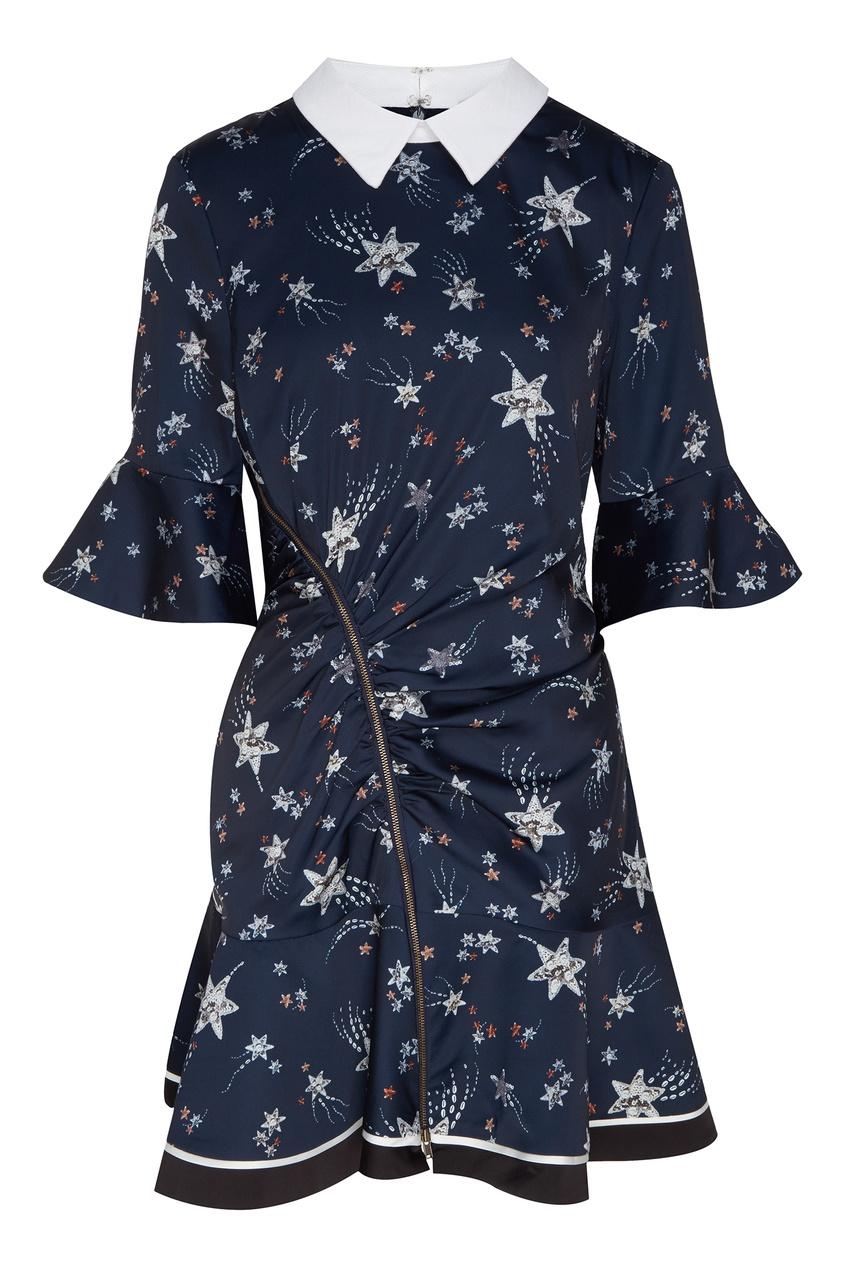 Купить Темно-синее платье с белым воротником от Self-Portrait синего цвета