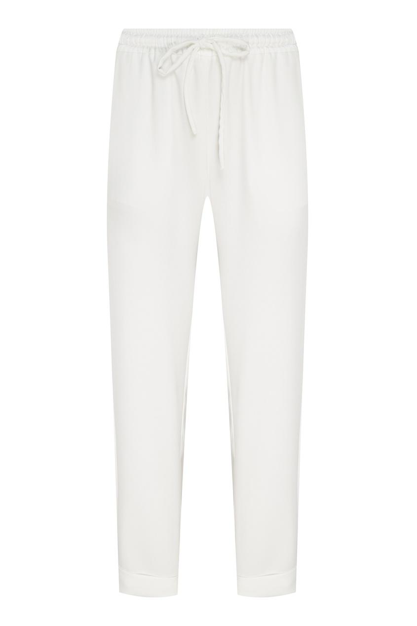Купить Белые брюки с эластичным поясом от P.A.R.O.S.H. белого цвета