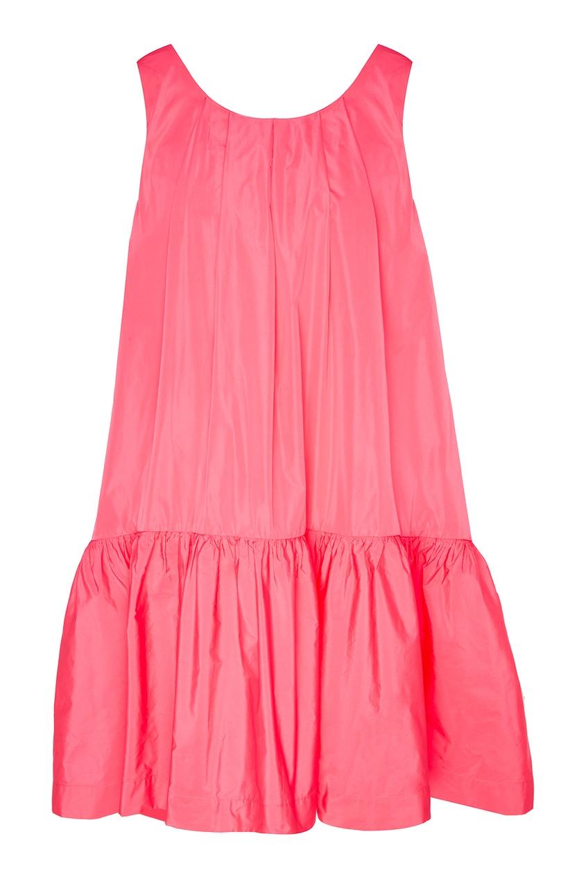 Купить Розовое платье с асимметричной оборкой от P.A.R.O.S.H. розового цвета