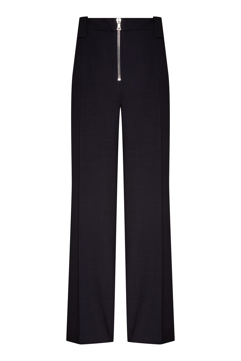 Купить Темно-синие брюки с молнией от Victoria Beckham синего цвета