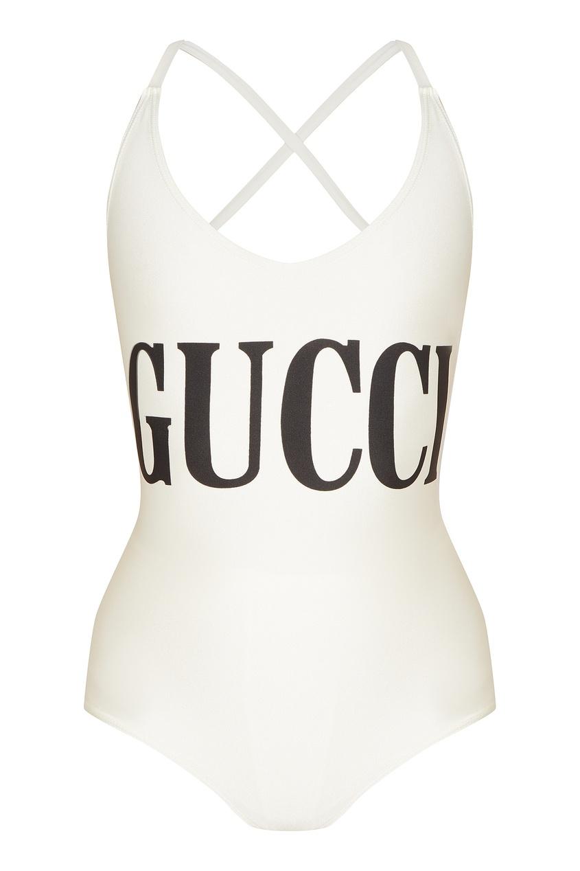 Белый купальник с черным логотипом Gucci