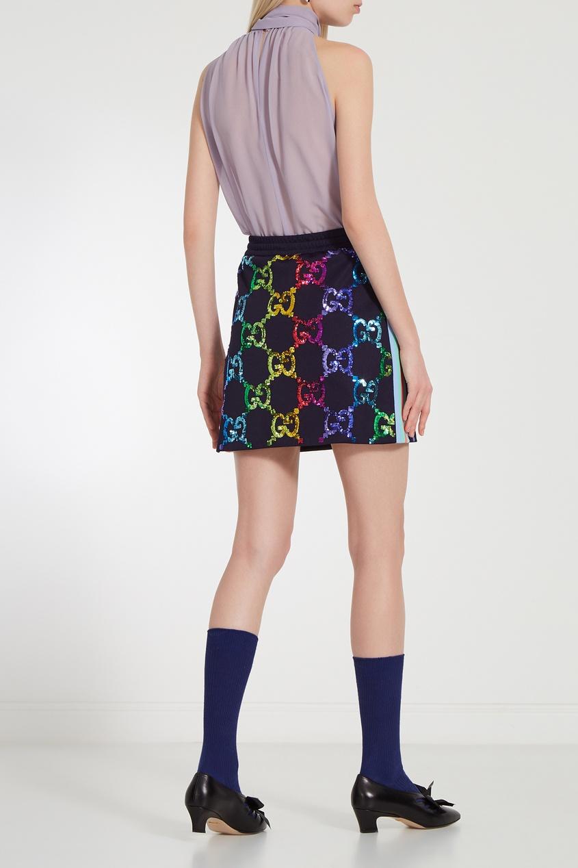 Фото 2 - Мини-юбка с разноцветными пайетками GG от Gucci цвет multicolor