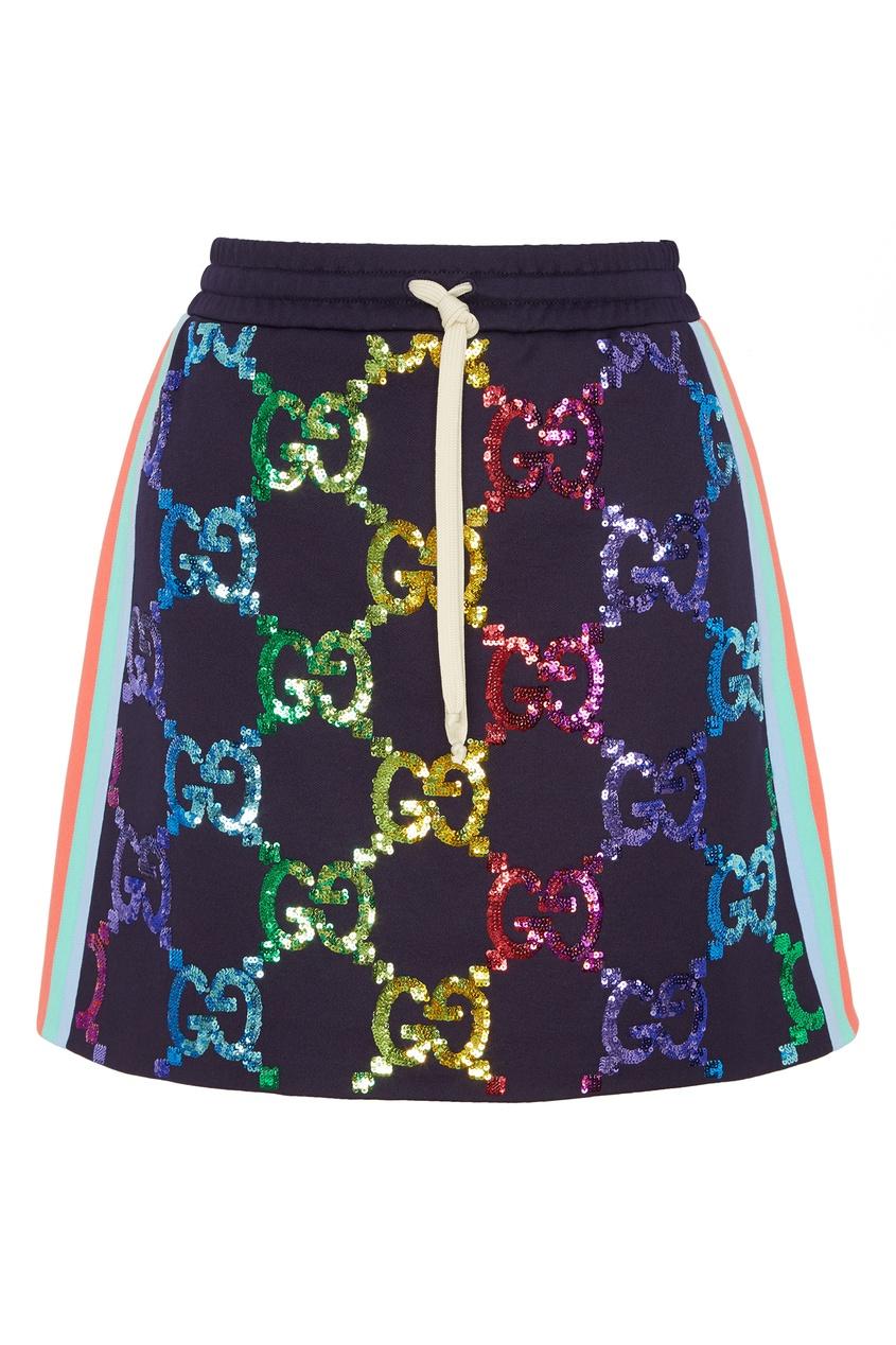 Мини-юбка с разноцветными пайетками GG
