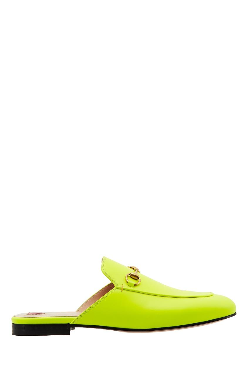 Неоново-желтые слиперы Princetowm Gucci