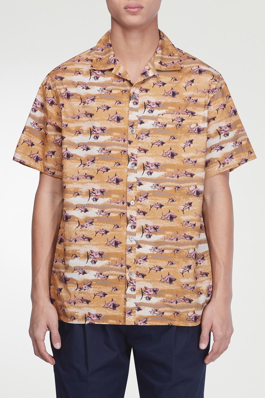 мужская рубашка lanvin, коричневая