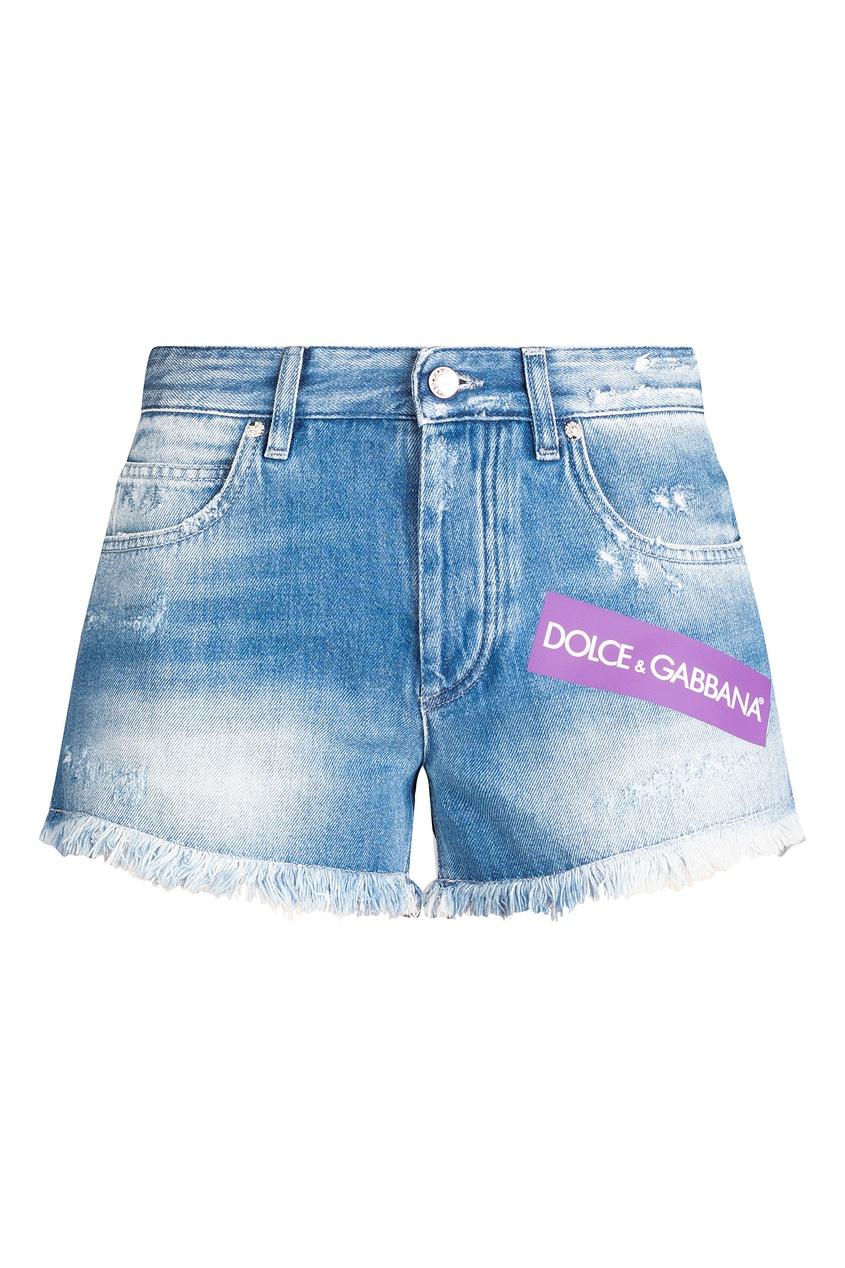 Купить Джинсовые шорты с логотипами синего цвета