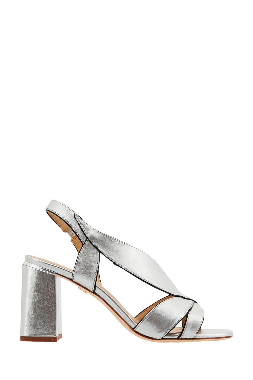 Серебристые кожаные босоножки Lola Cruz
