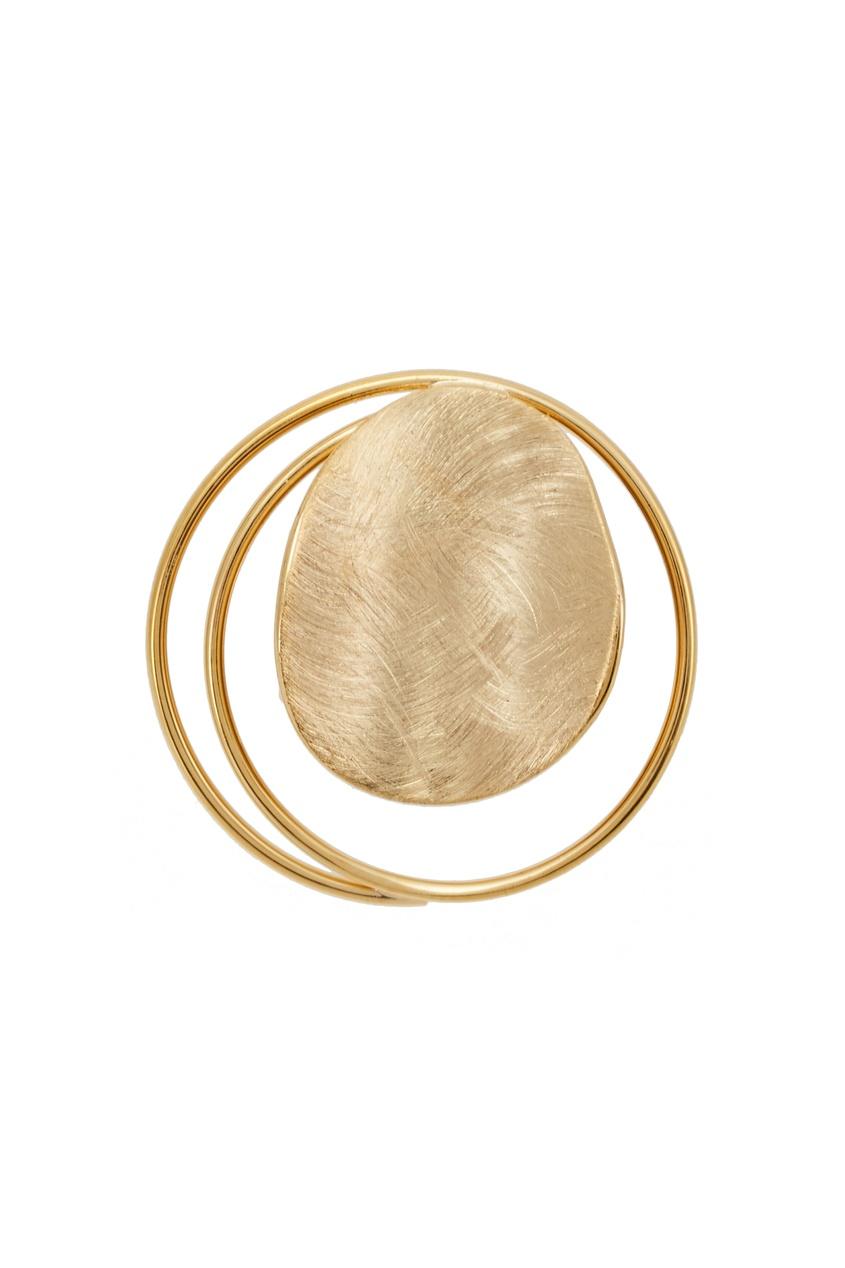 Золотистое кольцо с диском Exclaim