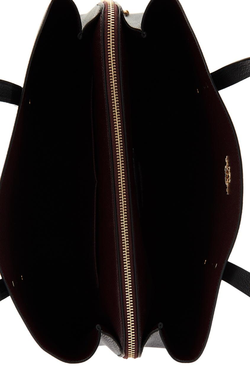 Фото 3 - Черная сумка с золотистым логотипом Charlie от Coach черного цвета