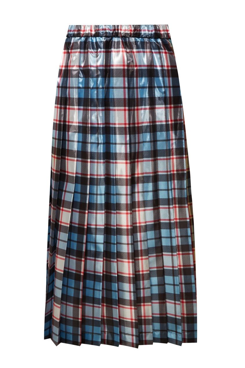 Клетчатая юбка с виниловым эффектом No.21